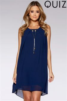 Quiz Chiffon Sleeveless Tunic Dress With Necklace