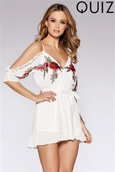 Quiz Floral Embroidered Playsuit