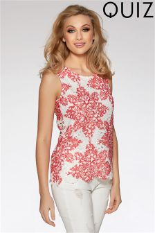 Quiz Crochet Paisley Print Top