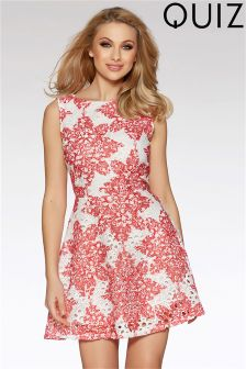 Quiz Crochet Print Skater Dress