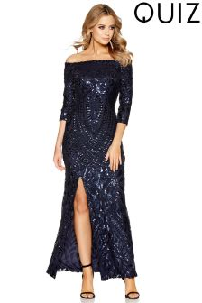 Quiz Sequin Bardot Split Front Maxi Dress