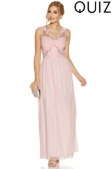 Quiz Chiffon Knot Front Diamond Embellished Mesh Insert Maxi Dress