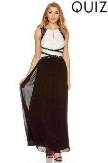 Quiz Chiffon Diamond Detail Maxi Dress