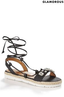 Glamorous Jewelled Tie-up Sandals