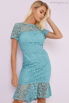 Paper Dolls Crochet Lace Peplum Hem Dress
