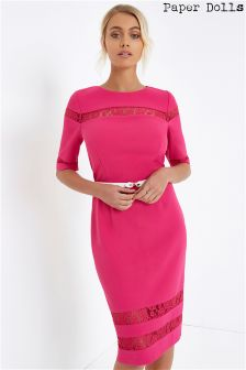 Paper Dolls Lace Insert Midi Dress