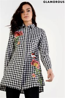 Glamorous Embrodiered Shirt Dress