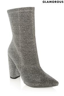 Glamorous Pointed Toe Metallic Sock Boots