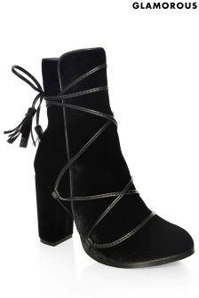 Glamorous Velvet Tie Up Ankle Boots