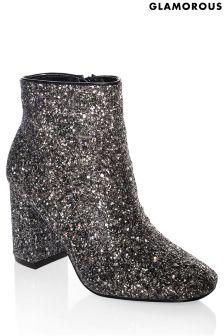 Glamorous Block Heel Glitter Ankle Boots