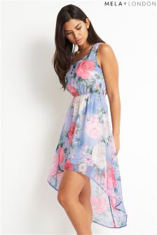 Mela London Rose Print High Low Dress