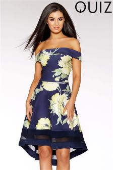 Quiz Floral Print Bardot Dip Hem Dress
