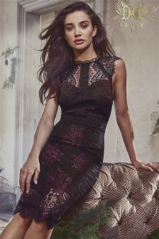 Lipsy VIP Two Tone Lace Midi Dress
