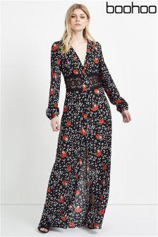 Boohoo Floral Crochet Waist Maxi Dress