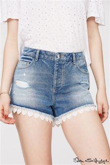 Miss Selfridge Lace Hem Denim Shorts