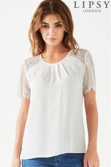 Lipsy Short Sleeve Lace Insert Top