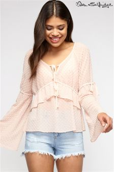 Miss Selfridge Long Sleeve Ruffle Blouse