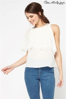 Miss Selfridge Cold Shoulder Ruffle Blouse