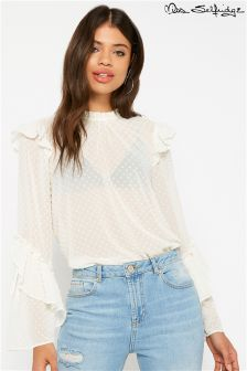 Miss Selfridge Dobby Flute Sleeve High Neck Blouse