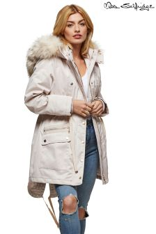 Miss Selfridge Zip Through Faux Fur Parka