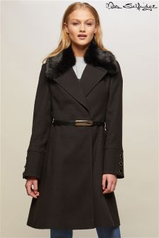 Miss Selfridge Faux Fur Trimmed Coat