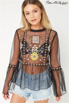 Miss Selfridge Embroidered Mesh Blouse