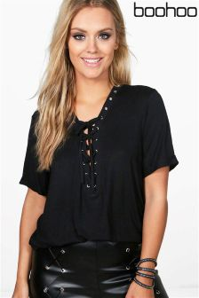 Boohoo Plus Eyelet Lace Up Roll Sleeve Top