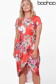 Boohoo Plus Floral Wrap Front Midi Dress