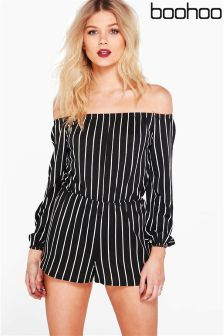 Boohoo Petite Stripe Off The Shoulder Playsuit