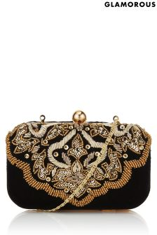 Glamorous Embroidered Velvet Clutch