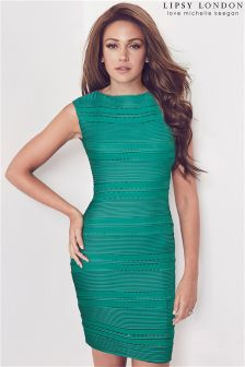 Lipsy Green Love Michelle Keegan Ripple Detail Dress