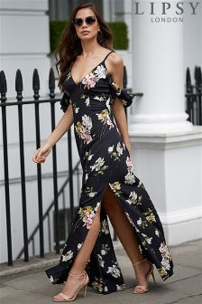 Lipsy Floral Print Ruffle Cold Shoulder Maxi Dress