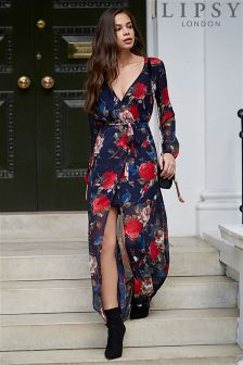 Lipsy Floral Print Cold Shoulder Tie Front Maxi Dress