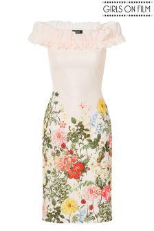 Girls On Film Bardot Frill Detail Bodycon Dress