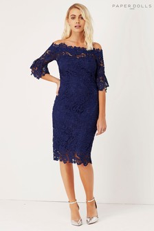 Paperdolls Lace Bardot Bodycon Dress