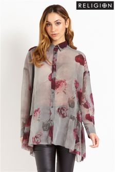 Religion Printed Oversized Shirt