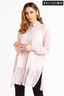 Religion Oversized Sheer Shirt