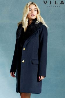 Vila Detachable Fur Collar Parka