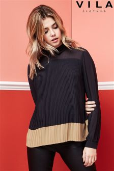 Vila Colour Contrast Pleated Top