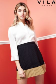 Vila Pleated Mini Skirt