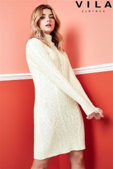Vila Roll Neck Knitted Jumper Dress