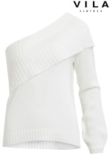 Vila One Shoulder Knitted Jumper