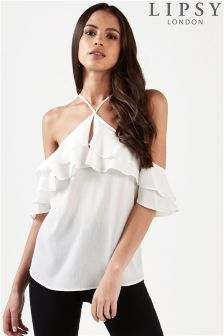 Lipsy Cold Shoulder Halterneck Blouse With Ruffle