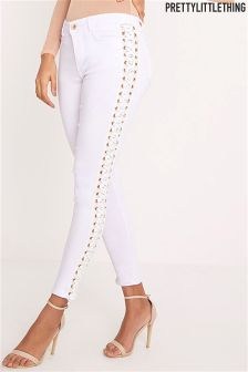PrettyLittleThing Eyelet Lace Up Stretch Trouser