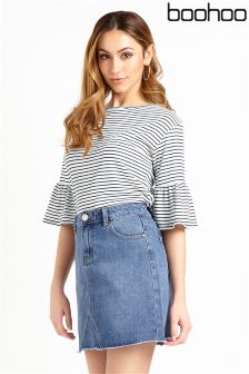 Boohoo Bell Sleeve Stripe Top