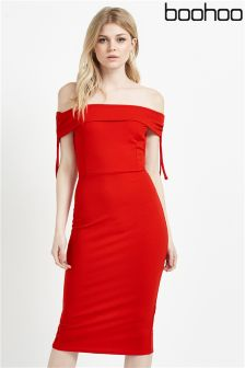 Boohoo Bardot Fold Over Midi Dress