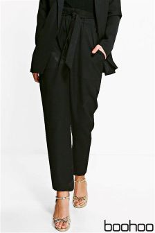 Boohoo Paper Bag Waist Belted Trousers