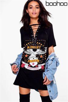 Boohoo Lace Up Band T-Shirt Dress