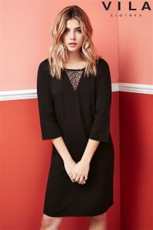 Vila Lace Insert Shift Dress