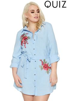 Quiz Curve Embroidered Shirt Dress